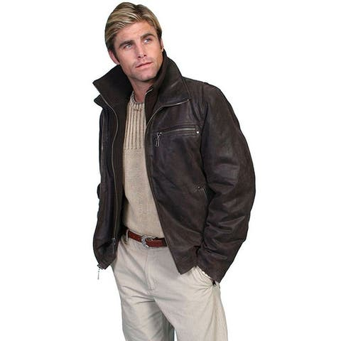 Scully Western Jacket Mens Lambskin Zip Front Removable Brown