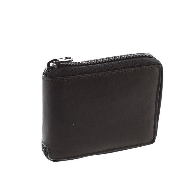 Paul & Taylor Black Leather Zip Around Center Flap Bifold Wallet
