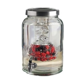 Palais Glassware High Quality Jar Beverage Dispenser - Metal Lid - 2.76 Gallon Capacity - With Ice Column and Fruit Infuser