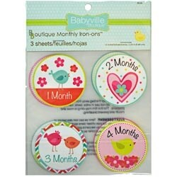 Little Bird & Hearts - Babyville Boutique Monthly Iron-On Appliques 12/Pkg