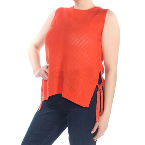 LUCKY BRAND Womens Orange Side Tie Sleeveless Sweater Size: XL