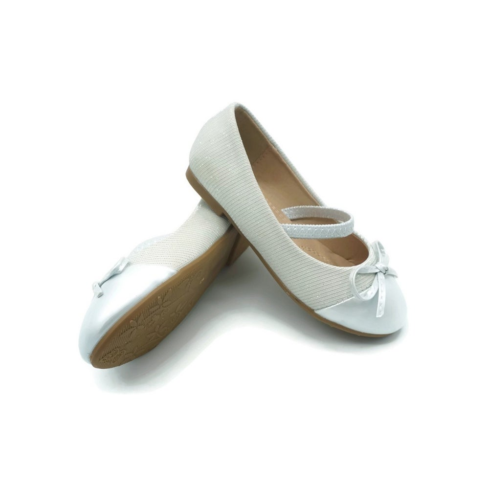Kate Little Girls Silver Elastic Strap Bow Mary Jane Shoes 5-10 Toddler