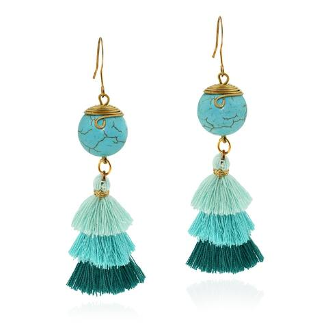 Handmade Vibrant Blue Turquoise and Tassels on Brass Dangle Earrings (Thailand)