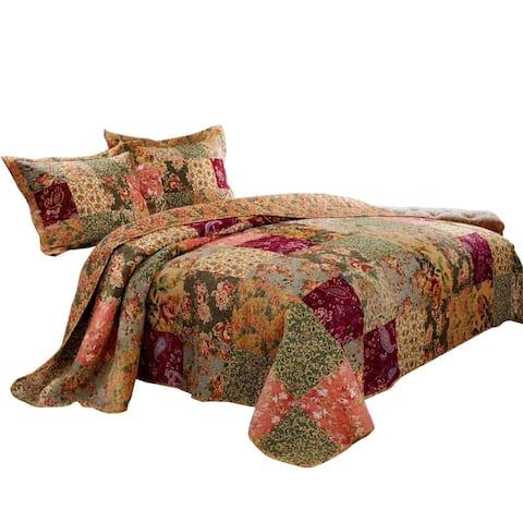 Kamet 3 Piece Fabric Full Size Bedspread Set with Floral Prints, Multicolor