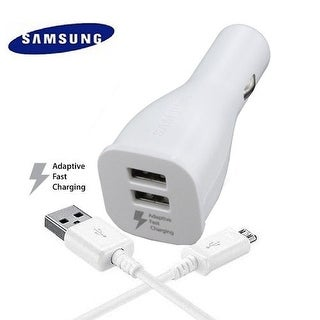 Samsung White Adaptive Fast Dual USB Car Charger  w/ Micro USB Cable White
