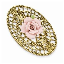 Goldtone Porcelain Flower Brooch