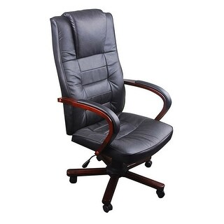 vidaXL Black Office Chair Artificial Leather Height Adjustable
