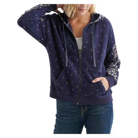 Lucky Brand Womens Full Zip Sweater Floral Hooded - Blue