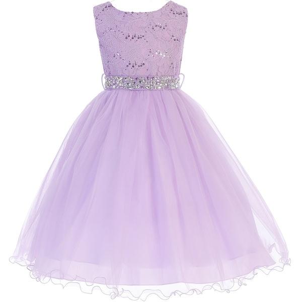 fa1f6e8e3c9 Shop Flower Girl Dress Glitter Sequin Top   Rhinestone Sash Lilac JK 3670 - Free  Shipping Today - Overstock - 16743235