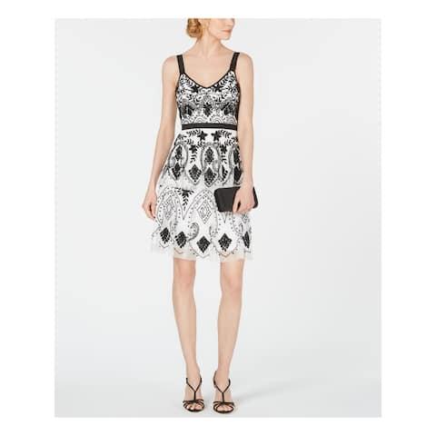 ADRIANNA PAPELL White Sleeveless Above The Knee Dress 4