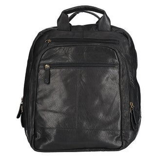 CTM® Men's Leather Top Zip Backpack with Laptop Sleeve - One size