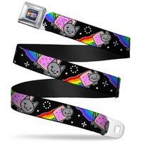 Nyan Cat Blue Full Color Nyan Cat Flying In Space Black2 Webbing Seatbelt Seatbelt Belt