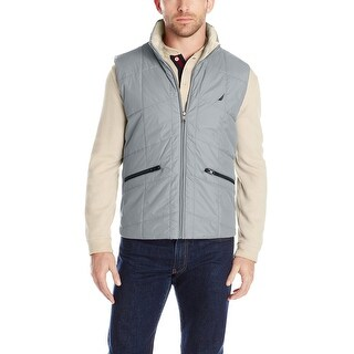 Nautica Quilted Vest Large L Radial Grey Water Resistant and Insulated