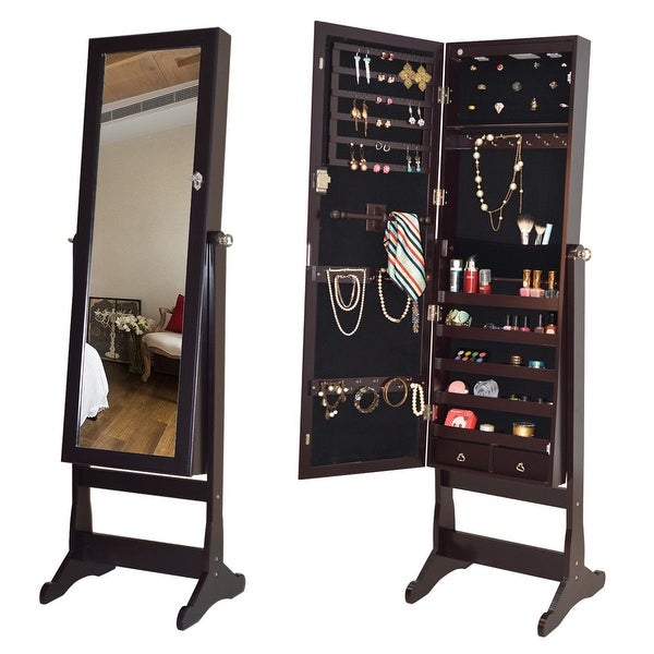shop costway lockable mirrored jewelry cabinet armoire organizer storage w stand led lights. Black Bedroom Furniture Sets. Home Design Ideas