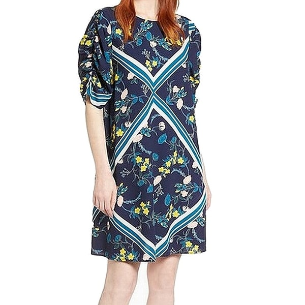 Halogen Blue Womens Size XXL Floral Ruched Sleeve Shift Dress