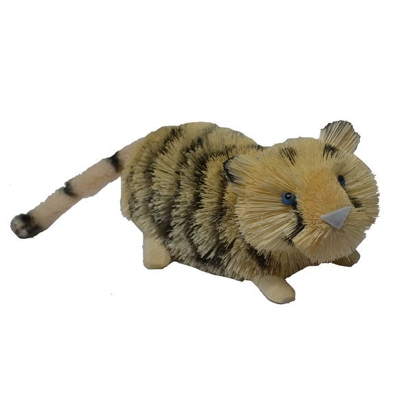 "11"" Yellow and Black Whimsical Bristle Brush Handcrafted Tiger - N/A"