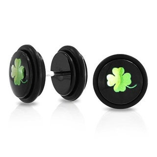 Bling Jewelry 14 Gauge Clover Fake Cheater Plugs Black Epoxy Dome Steel