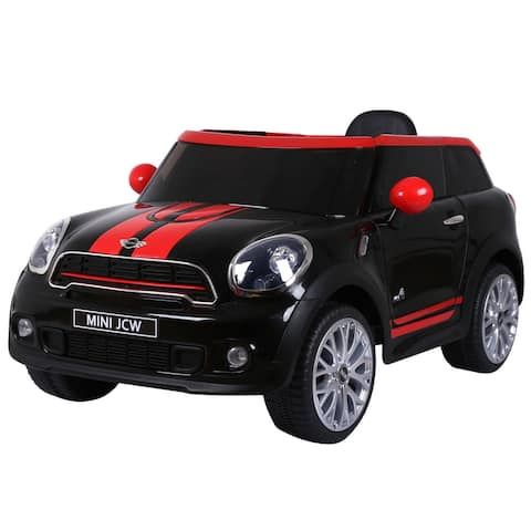 Gymax Black Electric MINI PACEMAN Kids Ride On Car Licensed R/C Remote