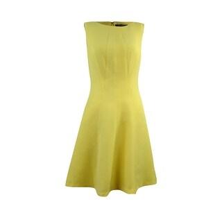 Lauren Ralph Lauren Women's Textured A-Line Sleeveless Dress - Yellow