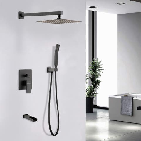 """Proox 12"""" Single Handle 2-Spray Shower Faucet Waterfall Tub Faucets"""