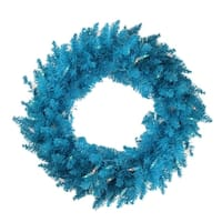 "24"" Pre-Lit Sky Blue Ashley Spruce Christmas Wreath - Clear & Blue Lights"