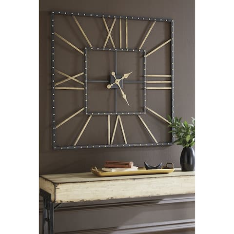 "Thames Contemporary Black/Gold Wall Clock - 40"" W x 1.5"" D x 40"" H"