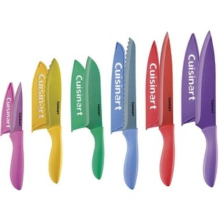 Cuisinart C77-12PMC Classic 12-Piece Metallic Coated Color Soft Grip Knife Set with Blade Guards, Multicolor