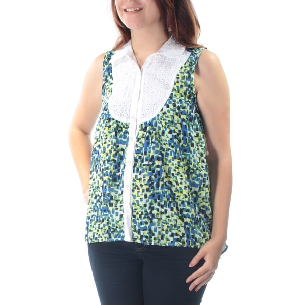 05473769c20fa Shop KENSIE Womens Blue Eyelet Printed Sleeveless Bib Neck Button Up Top  Size  S - Free Shipping On Orders Over  45 - Overstock.com - 21265340