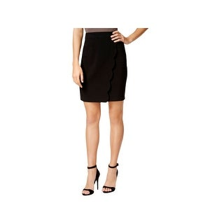 BCX Womens Juniors Pencil Skirt Faux-Wrap Scalloped