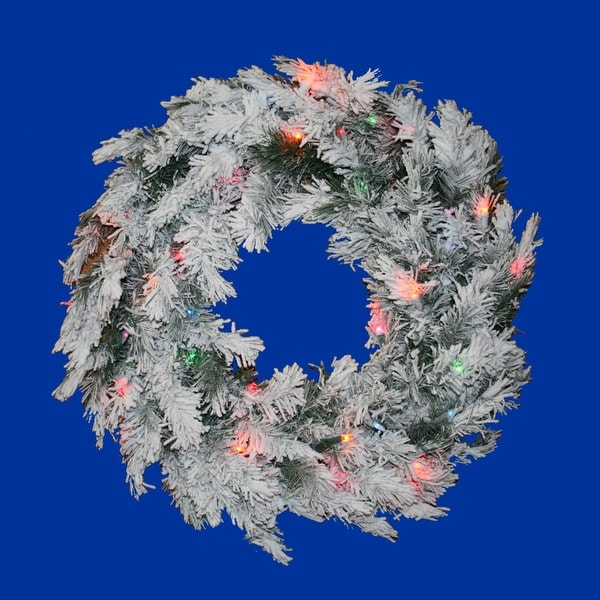 "24"" Pre-Lit Flocked Alaskan Artificial Christmas Wreath - Multi Dura Lights"