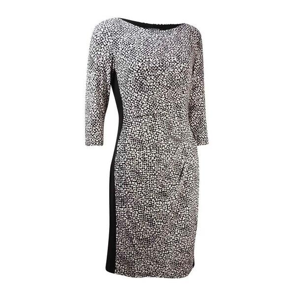 252be910916 Shop Lauren Ralph Lauren Women s Boat-Neck Printed Jersey Dress - Black Cream  - Free Shipping Today - Overstock - 16089059