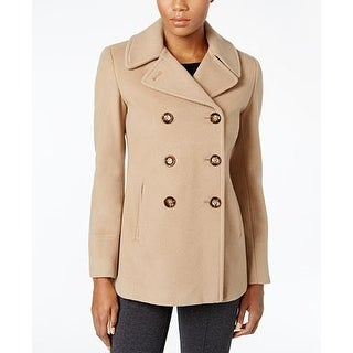Calvin Klein Petite Double-Breasted Peacoat Camel in Size 2P