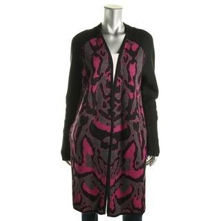 Diane Von Furstenberg Womens Pattern Open Front Cardigan Sweater - L