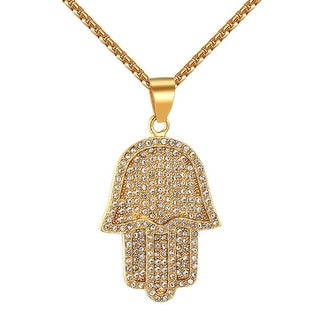 "Iced Out Men 14k Gold Tone Hamsa Hand Stainless Steel Pendant 24"" Necklace Set"