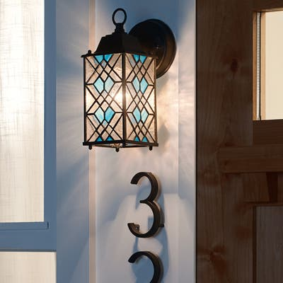 """River of Goods Blue Stained Glass and Black Satin 1-Light Outdoor Lantern Wall Sconce - 4"""" x 6"""" x 10.25"""""""