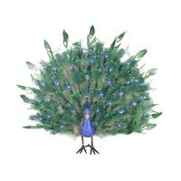 2' Colorful Green Regal Peacock Bird with Open Tail Feathers Christmas Decoration - BLue