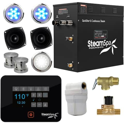 SteamSpa BKT1050-A Black Series 10.5kW QuickStart Steam Bath Generator Package