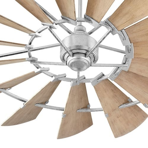 "Quorum International 197215 Windmill 72"" 15 Blade Indoor / Outdoor DC Ceiling Fan with Blades, Wall Control, and Downrod"