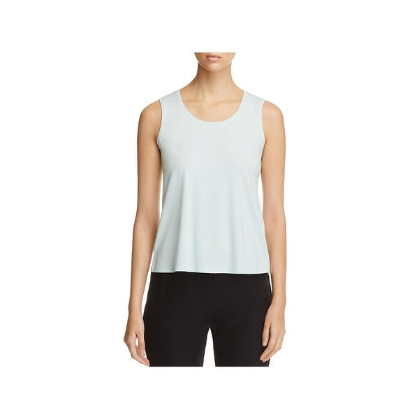 818318e76b6 Shop Eileen Fisher Womens Petites Tank Top Silk Scoop Neck - Free ...