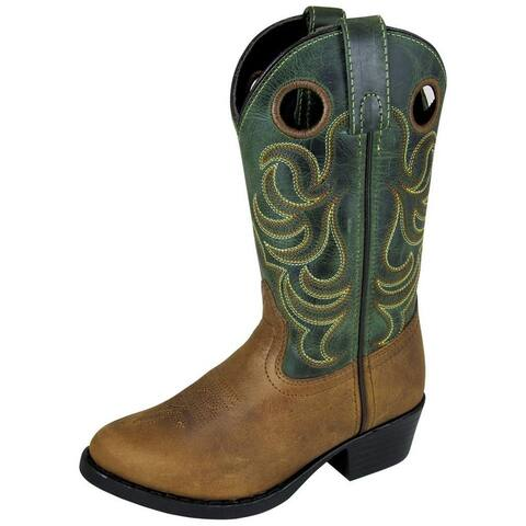 Smoky Mountain Western Boots Boy Henry Leather Tricot Brown Green