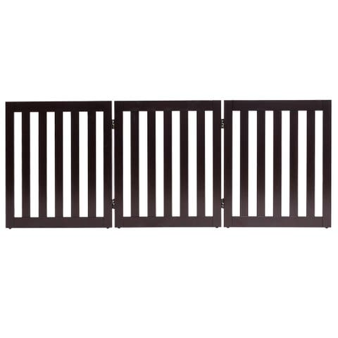 Gymax 24'' Configurable Folding Free Standing 5 Panel Wood Pet Dog Safety Fence Brown - 3 Panel