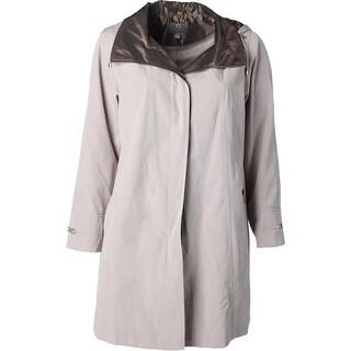 Gallery Womens Plus Raincoat Hooded Deep Pockets