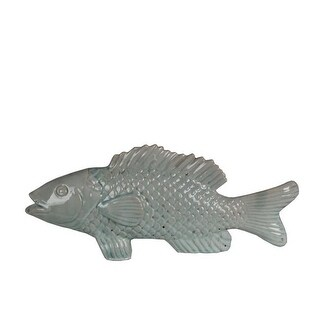 Privilege 66997 16.5 x 3 x 6.5 in. Ceramic Fish Statue, Blue