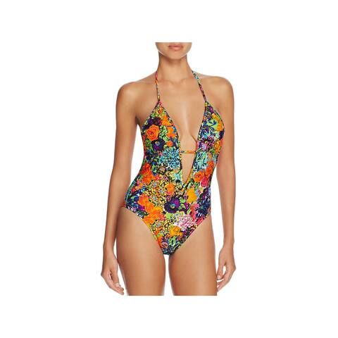 Milly Womens Acapulco Maillot Strappy Floral Print One-Piece Swimsuit