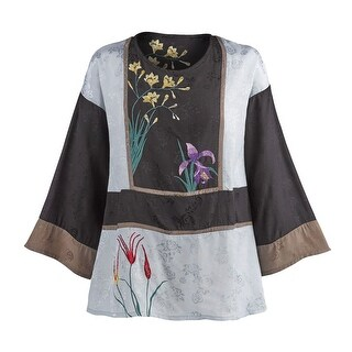 Women's Tunic Top - Flora Embroidered Blouse with 3/4 Sleeves