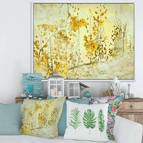 Designart 'Yellow Flower Grunge Art' Modern Framed Canvas Wall Art Print
