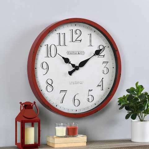 FirsTime & Co.® Red Bellamy Clock, American Crafted, Red, Plastic, 24 x 2.5 x 24 in - 24 x 2.5 x 24 in