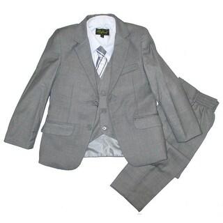 Boys Gray Classic Formal 5 Pcs Vest Shirt Tie Suit