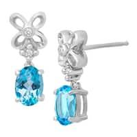 1 3/4 ct Swiss Blue Topaz Drop Earrings with Diamonds in Sterling Silver