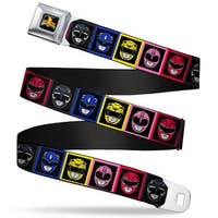 Power Rangers Logo Full Color Power Rangers Faces Blocks Webbing Seatbelt Seatbelt Belt